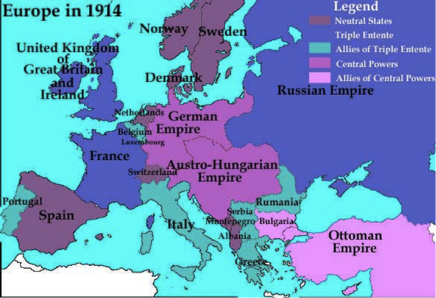 Map 2: Europe in 1914 before WWI.