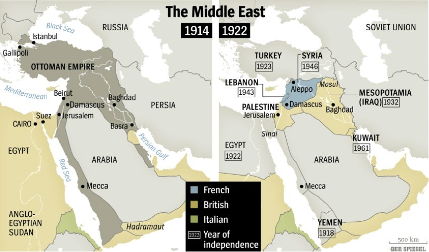 Wwi centenary what should muslims learn muslimmatters map 4 middle east before and after ww1 gumiabroncs Images