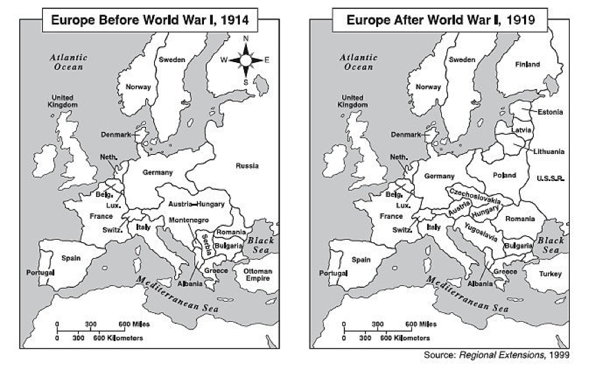 Map 5: Europe before and after WW1