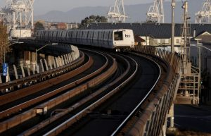 San Francisco bound train departs West Oakland BART station